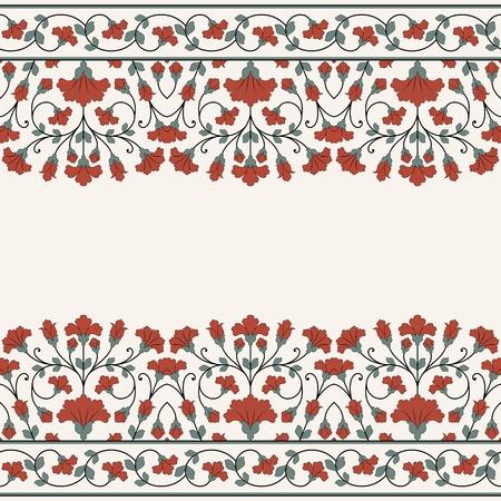 bordes decorativos: Tarjeta de invitación con el ornamento floral.