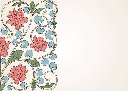 Floral oriental pattern in vintage style. 10 eps. Vector