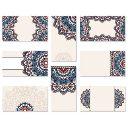 delicate arabic motif: Set of ornamental business cards