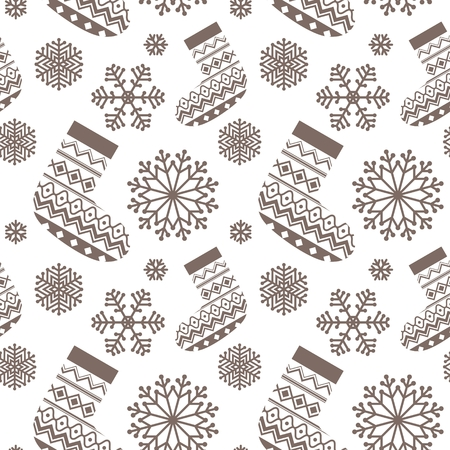 Christmas seamless pattern. Background with snowflakes and socks.