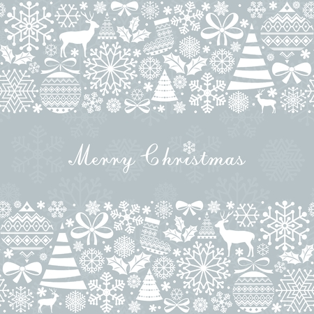 textile: Christmas Greeting Card. Vintage Christmas and  New Year elements. Illustration