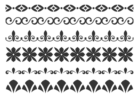 borders abstract: Set of borders for design. Design horizontal elements.