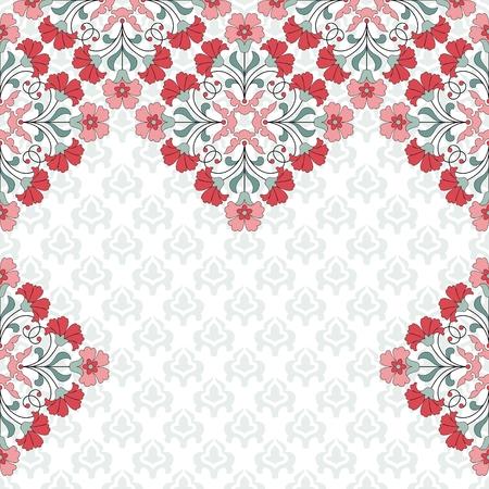 indische muster: Einladungskarte mit floralem Ornament mit Platz f�r Text.
