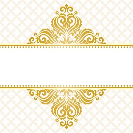 card: Vintage greeting card. Golden elegant invitation card.