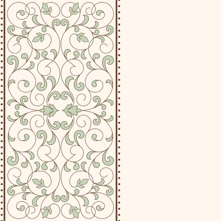 postcard template: Vintage card with floral ornament with place for text.