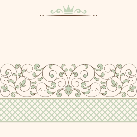 valentine border: Vintage card with floral ornament with place for text.