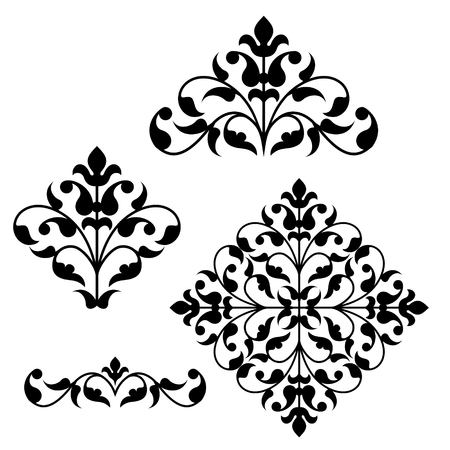 Set of ornamental floral elements for design in vintage stile.
