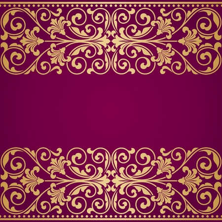 scroll design: Floral pattern for invitation or greeting card.