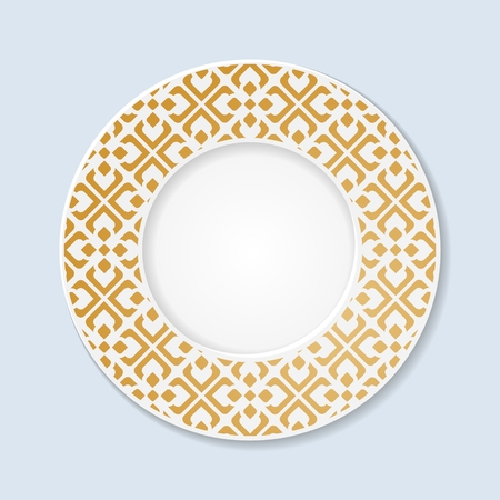 earthenware: Decorative plate with abstract ornament. 10 eps. Illustration