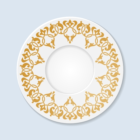 earthenware: Decorative plate with floral ornament. 10 eps.
