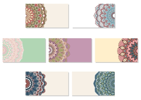 semicircle: Set of ornamental business cards. This is file of EPS10 format. Illustration