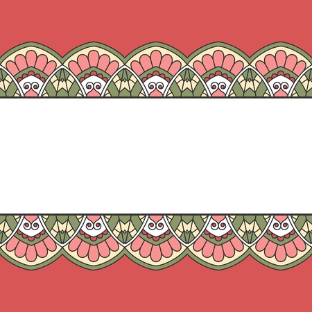 wedding flower: Floral oriental pattern with place for text.