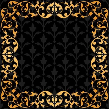 Fondo negro con adornos de época de oro. 10 EPS.