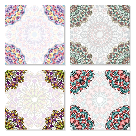 Set of abstract cards with oriental pattern.