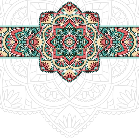 Floral oriental pattern with place for text. Vector Illustration