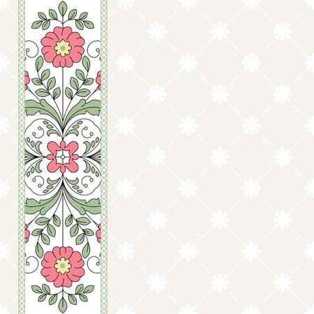 Invito carta con ornamenti floreali.