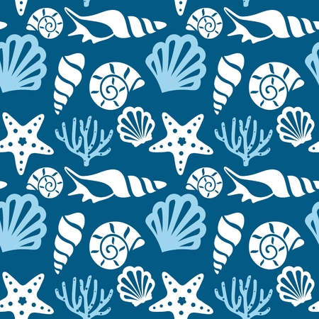Seamless pattern with marine animals. Underwater background.