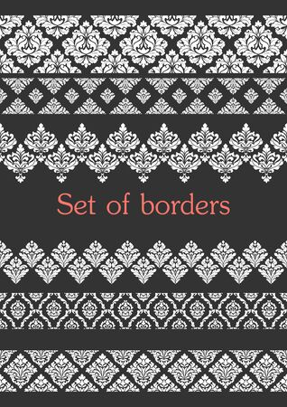 Set of seamless borders. Border decoration elements .