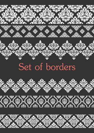 Set of seamless borders. Border decoration elements .
