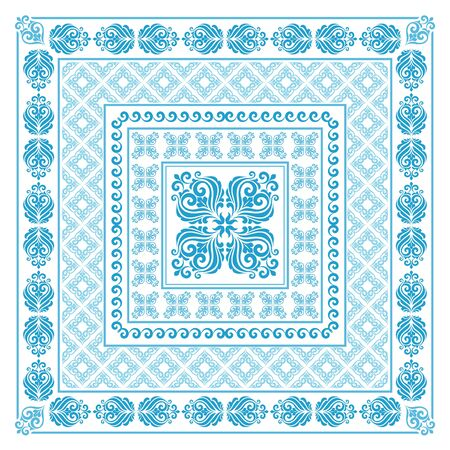 Vector square frame template. Bandana with vintage ornament. Stock Illustratie