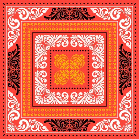 Vector square frame template. Bandana with vintage ornament.  イラスト・ベクター素材