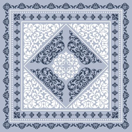 Vector square frame template. Bandana with vintage ornament