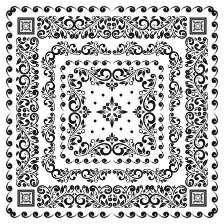 Square frame set template. Bandana with vintage ornament.