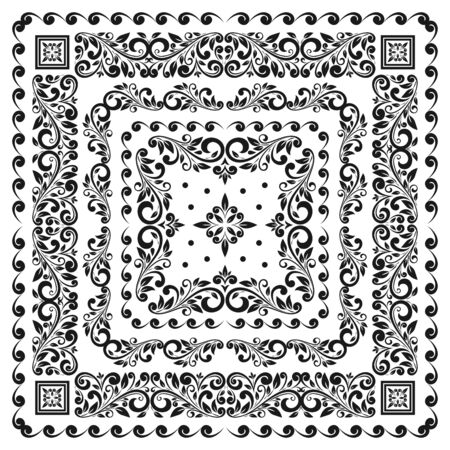 Szablon zestawu ramek kwadratowych. Chustka z rocznika ornamentem.