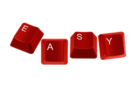 Multiple keyboard keys isolated and arranged to spell the word EASY on a white background. Stock Photo - 9880290