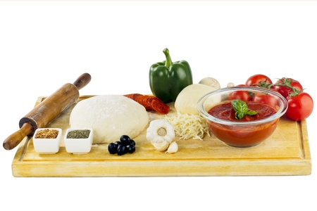 Ingredients for pizza making