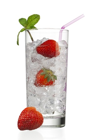 glass with ice cubes and strawberries Stock Photo - 15267159