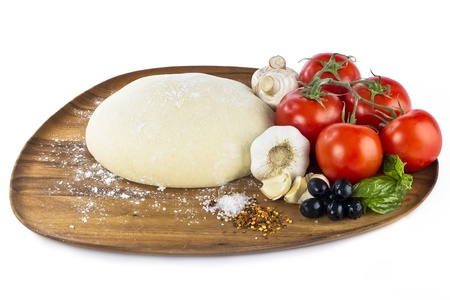 pizza dough with ingredients photo