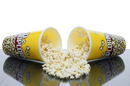 two cups of spilled popcorn Stock Photo - 15267161