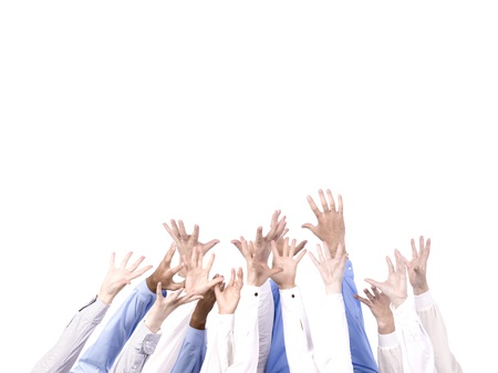 Business team with arm in air signaling success Stock Photo - 15330837