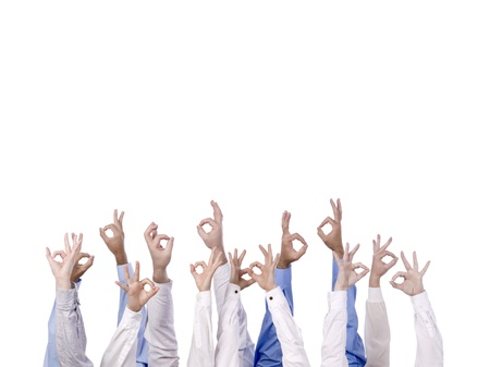 Business team with arm in air signaling success Stock Photo - 15291491