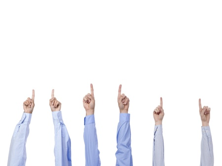 Business team with arm in air signaling success Stock Photo - 15291490