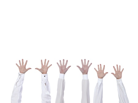 lifted hands: Business team with arm in air signaling success Stock Photo