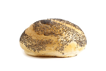 Fresh Bun with black sesame seeds isolated in a white background Stok Fotoğraf