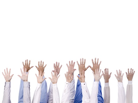 Close-up image of a group of hands reaching to the top isolated against the white background Stock Photo - 15378936