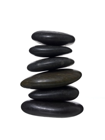 Close up image of spa stones against white background Stock Photo - 15378852