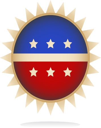 Digitally generated image of a retro badge with star shapes design. Ilustração