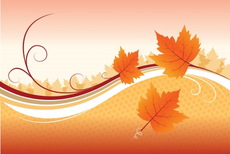 Vector of Autumn Background With Leafs Ilustrace