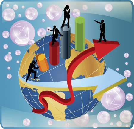 An illustration of business people around the world on a vector image