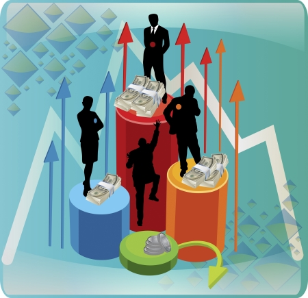 enterprising: An illustration of different business people standing on a graph aiming high on a vector image  Illustration