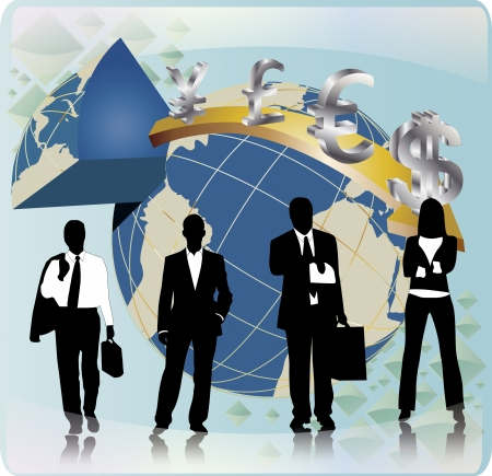 Business people team with globe and money sign Vector