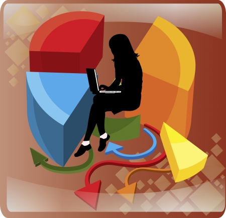 Vector business woman in the center of a pie chart Vector