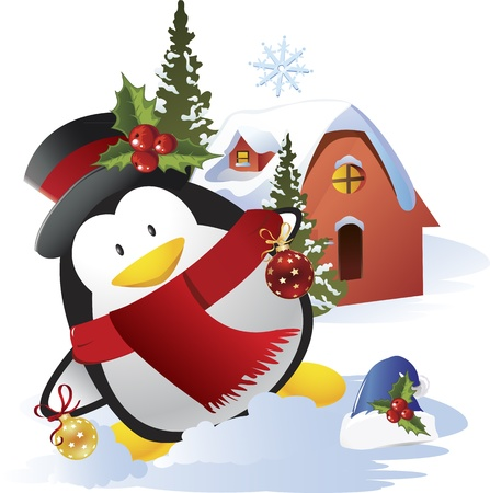 Vector cute penguin celebrating Christmas Stock Vector - 15378876