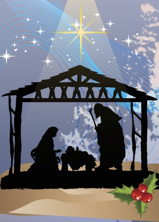nativity background: Clip art illustration of Christmas poster