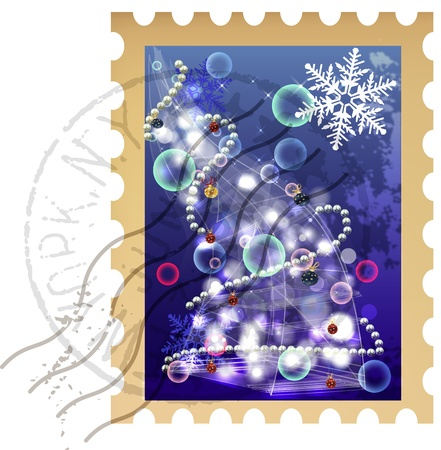 philately: Clip-art Christmas postage stamp with Christmas tree Illustration