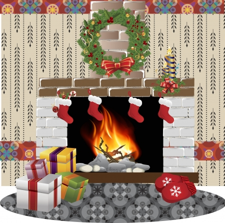interior decoration: Vector fireplace decorated with Christmas ornaments Illustration